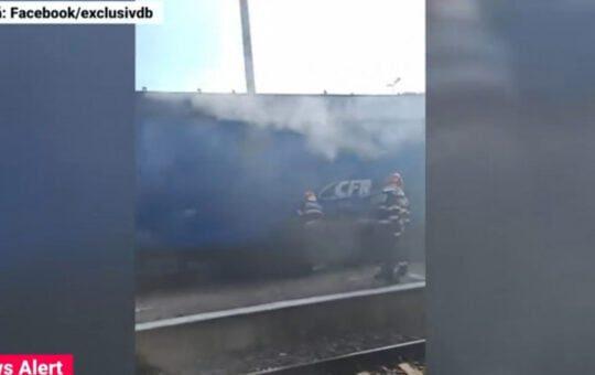Locomotivă în flăcări, la Târgoviște